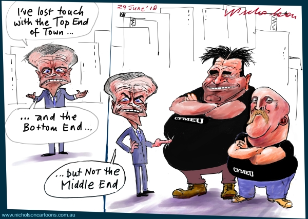 2018-06-29 Bill Shorten John Setka Shaun Reardon CFMEU  allies of Shorten Australian Financial Review cartoon