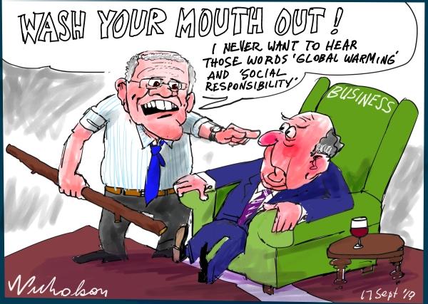 "Political cartoon about Scott Morrison and Ben Morton attacking businesses that do ""social activism"" published Australian Financial Review 2019-09-17"