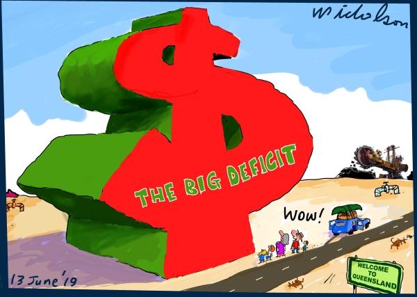 2019-06-13 Queensland budget Jackie Trad big deficit Australian Financial Review cartoon