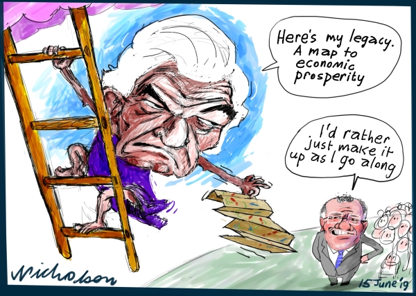 2019-06-15 Hawke memorial he departs and leaves economic legacy Scott Morrison uninterested Australian Financial Review cartoon