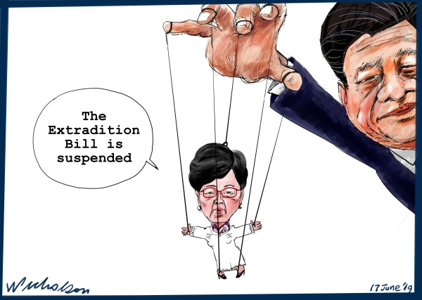 2019-06-17 Hong Kong extradition bill Carrie Lam Xi Jinping Australian financial Review cartoon