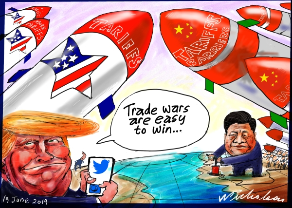 Political cartoon 2019-06-19 Donald Trump trade wars easy win Xi Jinping Free Trade World Trade dangers Australian Financial Review cartoon