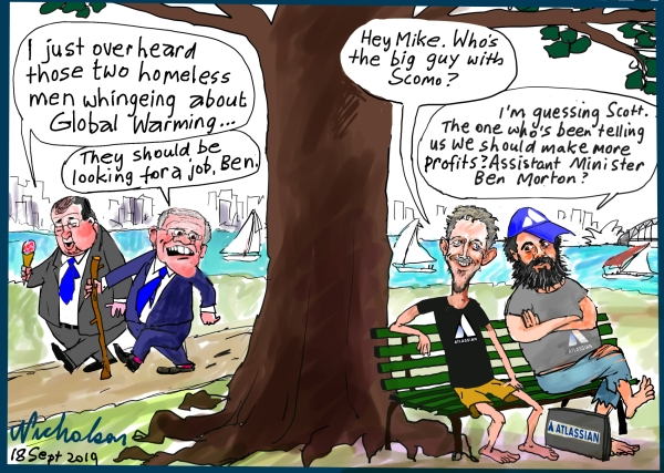 2019-09-18 cartoon about Ben Morton lecture to Scott Farquhar and Mike Cannon-Brookes about activism global warming Australian Financial Review cartoon
