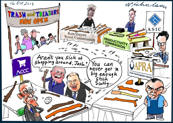 Political cartoon for Australian Financial Review Scott Morrison and Josh Frydenberg shop round for big stick to belt banks