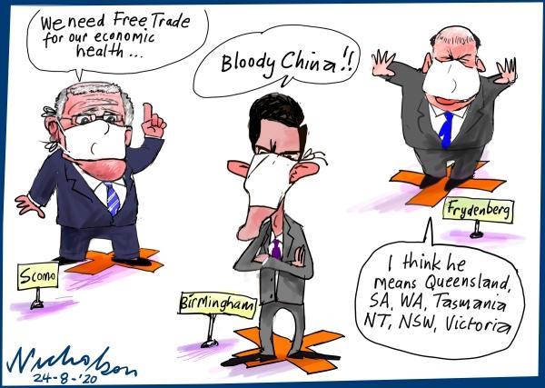 political cartoon on covidd 19 free trade states of australia