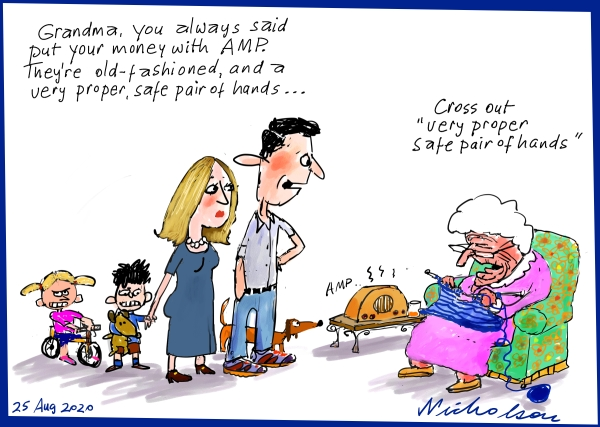 AMP Boe Pahari Metoo moment old fashioned advice from grandma safe hands david murray resigns cartoon in Australian Financial Review