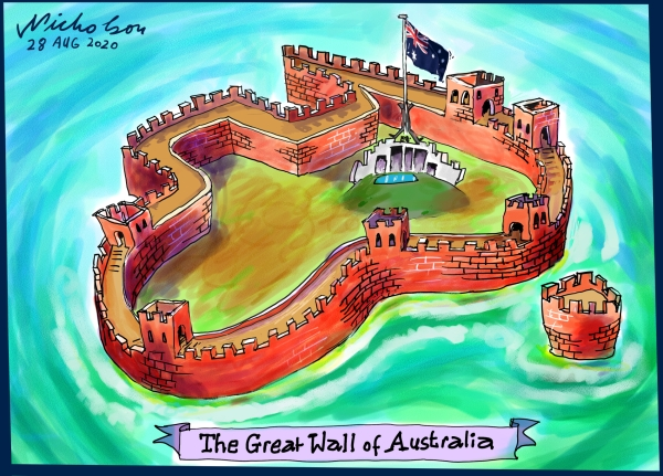 Cartoon Morrison Payne to limit Chinese investment and interference Australian Financial Review 2020-08-28