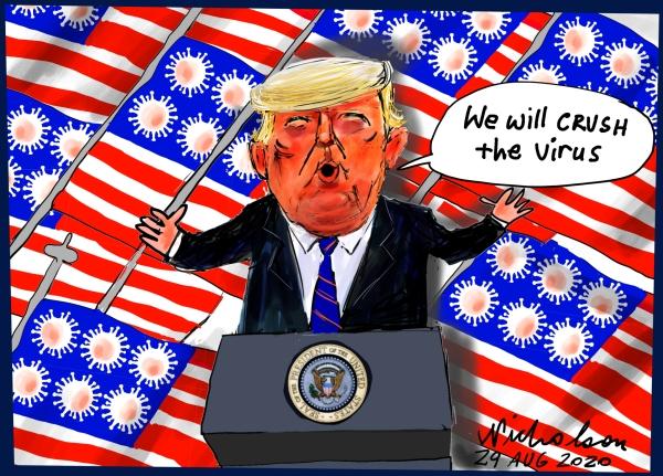 Trump acceptance speech crush covid cartoon Australian Financial Review 2020-08-29 8 Aug 2020