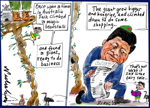 cartoon on China and Australia. Jack and the Beanstalk gone wrong. Cartoon in Australian Finanacial Review. 31 Aug 2020. 2020-08-31