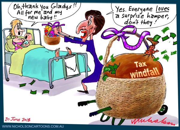 2018-06-20 Gladys Berejiklian hamper for mums budget tax windfall bonanza Australian Financial Review cartoon