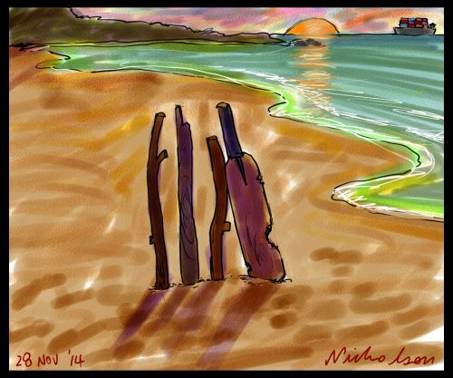 2014-11-28 beach cricket Phillip Hughes cartoon